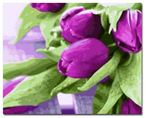 GDLATFD Pintura por Números Principiante- Tulipán púrpura -Paint by Numbers Kits Gift 40cm x 50cm Canvas Bricolaje Acrylic Painting para adultosy niños con Pinturas, Wall Art Deco (sin Marco)