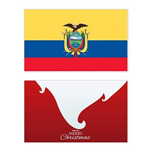 Ecuador Nationalflagge Südamerika Land Urlaub Merry Christmas Karte Weihnachten Vintage Nachricht