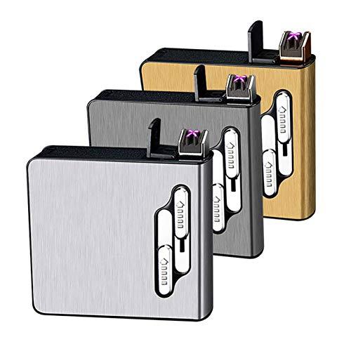SCYDAO 3Pack Dual-Arc-Feuerzeug, Zigaretten-Kasten Mit Feuerzeug, Auto Eject/Selbstzündung, Beweglichen Nachladbare Flameless Windundurchlässiges Feuerzeug Für Kerze Und Zigarette