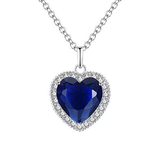 Titanic coeur de l'océan collier les colliers pendentif amour bleu,QEPOL collier plaqué or blanc argent sterling saphir gros pendentifs et bijoux cadeau de fête des mères Saint Valentin (Bleu)