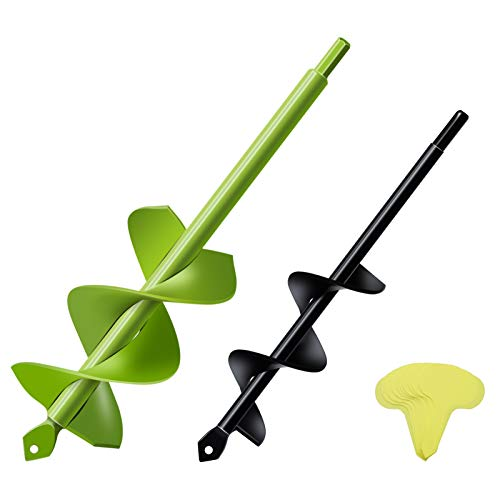 Bulb Planter 2 Pack 8x30cm/4x22cm Auger Drill Bit Solid Shaft Garden Drill Planter Dual Spiral Blades Bulb Planter Tool Post Auger for 10mm Hex Drive Drill(Adjustable Drill Chuck Recommended)