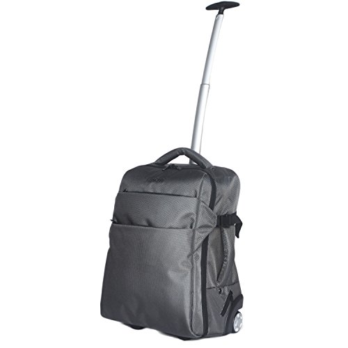 3 in 1 Wheeled Cabin Approved Trolley Travel Bag Flight Backpack Hand Luggage Suitcase Holdall Laptop Bag (Classic Grey)
