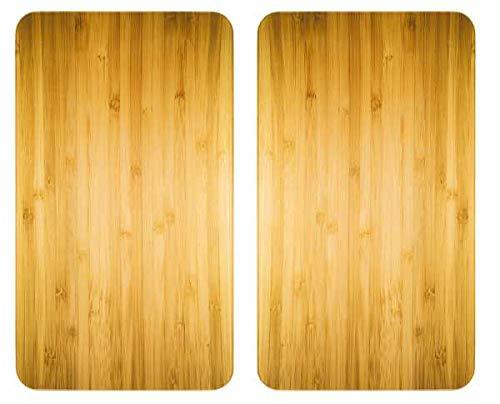 WENKO Glasabdeckplatte Universal Holz-Optik, 2er Set Herdabdeckung Ceranfeld Elektroherd Gasherd Ceran Designschneideplatte