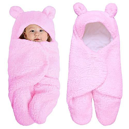 Che Sacco Nanna Baby Neonato Caldo trapunta in velluto trapunta fasciatoio avvolgente coperta biancheria da letto solida e solida, Rosa, 0-2 Mesi