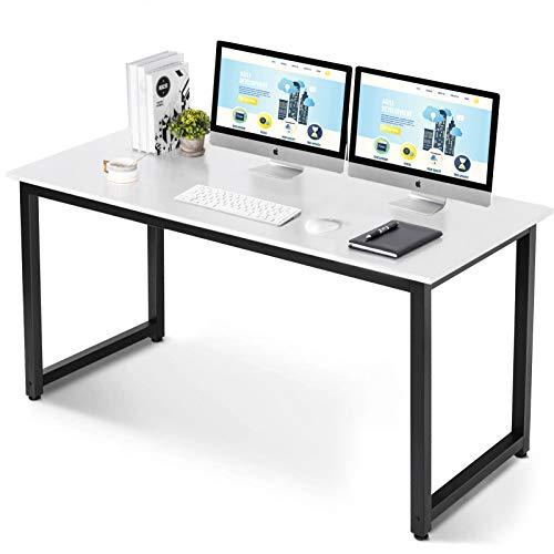 UMINEUX Escritorio de computadora de 55 pulgadas para estudio de oficina en casa, estilo moderno y simple con marco de metal resistente (blanco)