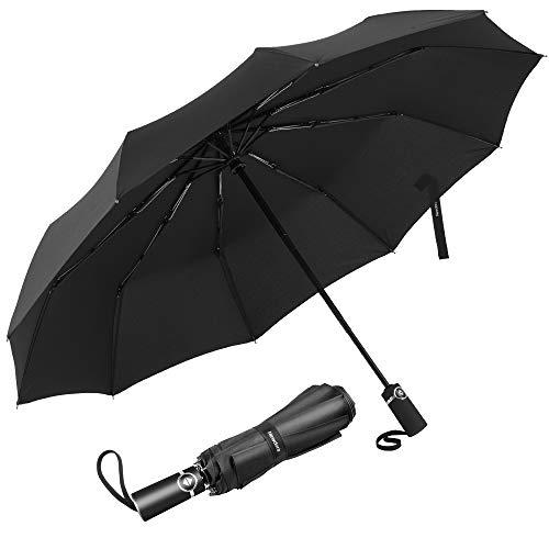 Newdora Regenschirm Taschenschirm Windproof sturmfest Auf-Zu Automatik 210T Nylon Umbrella wasserabweisend klein leicht kompakt 10 Ribs Reise Golfschirm mit Trockenbeutel(Schwarz)