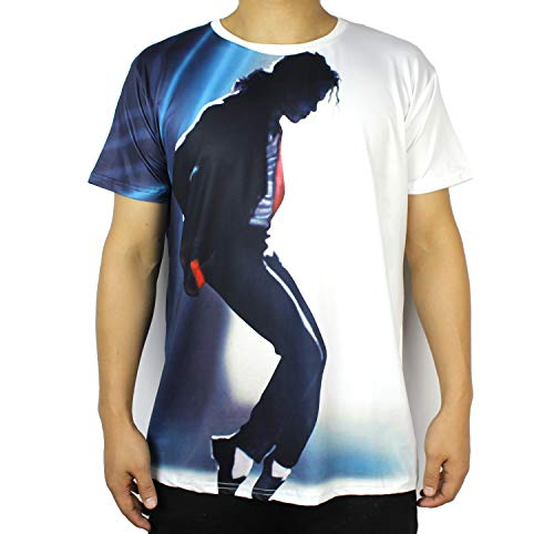Shuanghao Fo MJ Michael and Jackson Space Dance Top Punk Cotton 100% Colorful Tshirt Camisetas Top Casual Camiseta (XL)