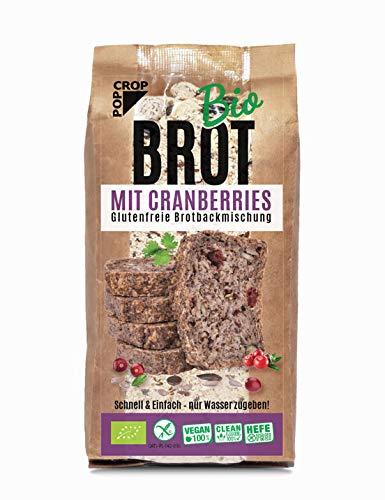 POPCROP Bio BACKMICHUNG MIT CRANBERRIES 2 x 450g Pack für 1,5kg Brot   Vegan Gluten-Frei Hefe-Frei Lactose-Frei   Schnellbrot – Nur Wasser Zugeben   Fitness   Nur Beste Natürliche Zutaten