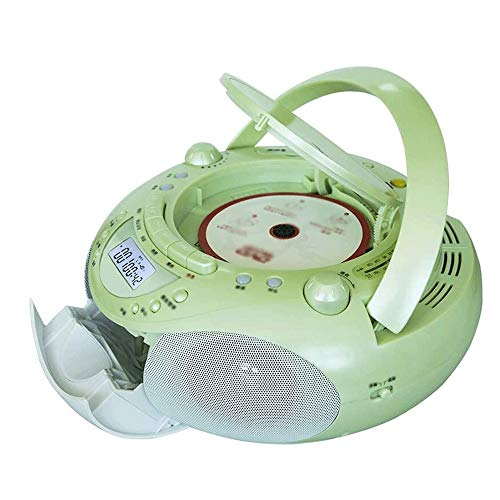 Adesign Boombox Portable Reproductor de CD con Control Remoto, Radio FM, USB Reproductor de MP3, de 3,5 mm de Entrada AUX, Auricular Gato, Pantalla LED (Color : Green)
