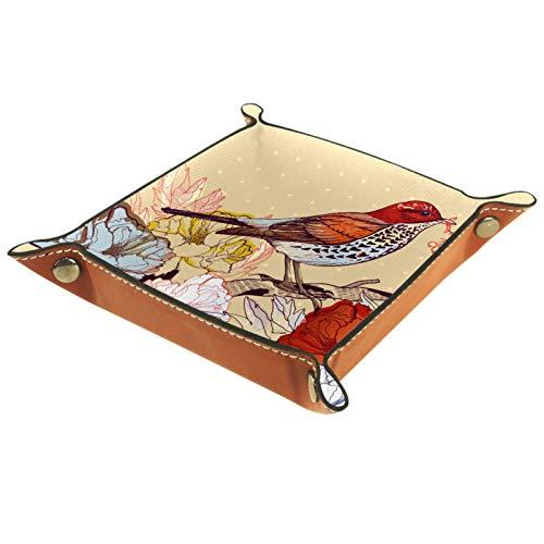 HOHOHAHA Bandeja plegable de cuero para dados con broches para DnD, juegos de mesa, almacenamiento, flores de primavera vintage