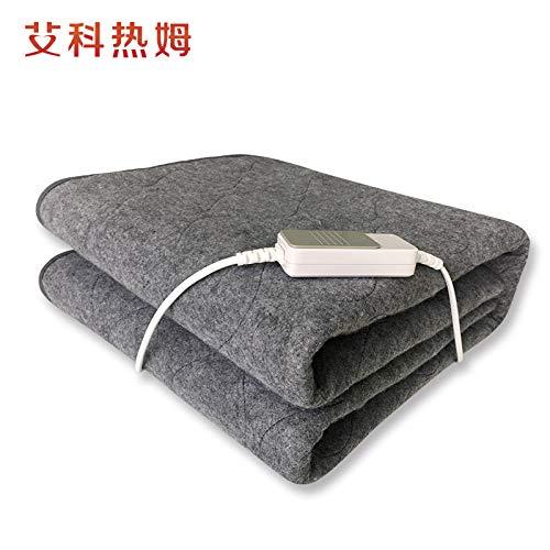 Heated eléctrico Throw, 150 x 75cm manta no tejido suave, manta Heated eléctrico Overblanket con solo control remoto Ajustes de control de calor y 3,Gris