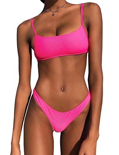 IBIZA VIBE Bikini-Set gerippt, Neon-Look, Crop Top, hoher Schnitt, sexy, zweiteilig, brasilianischer Badeanzug für Frauen - Pink - (36/38 DE/Large)