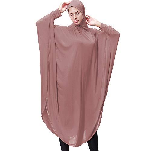 Amphia - Damen Lady Täglich Lässig Muslim Soild Lange Ärmel Lange Vintage Fasion Kleider - Moslemische Normallack-Lange Hülse der Frauen mit Kapuze Robe