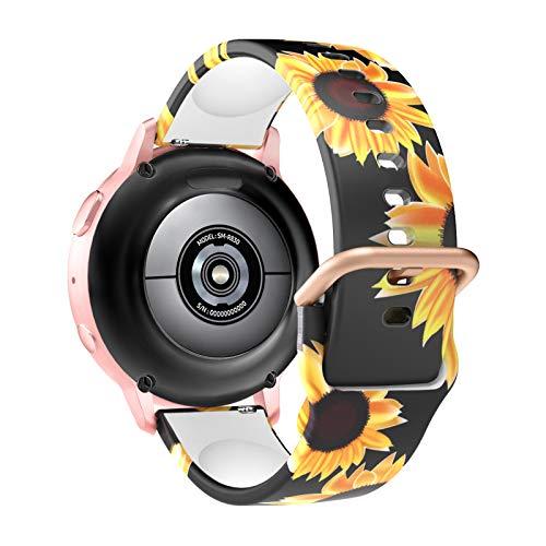 MoKo Correa de Reloj Compatible con Samsung Galaxy Watch 3 41mm/Galaxy Watch 42mm/Galaxy Watch Active/Active 2/Gear S2 Classic, Banda Estampada Preciosa, Banda de Silicona Suave, Negro & Girasol