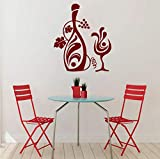 Dalxsh Vid Calcomanías De Pared Vinilo Vinoteca Pegatinas De Pared De Vidrio Para Bar Cocina Floral Decoración Del Hogar Arte Mural Extraíble Diseño 57X50 Cm