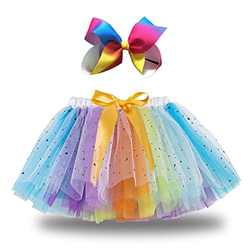 Baby Girl Tulle Tutu Skirt+Hair Bows, Toddler Rainbow Dancing Party Tutu Princess Ballet Dress Up for Kids 2-9T (Rainbow Tutu, 2 Years)