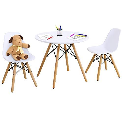 DREAMADE 3 TLG. Kindersitzgruppe, Runder Tisch mit 2 Stühlen, Beine aus Buchenholz, Kindersitzgarnitur belastbar bis 50kg, Skandinavisches Kindermöbelset für Kinder von 3-12 Jahren, Weiß