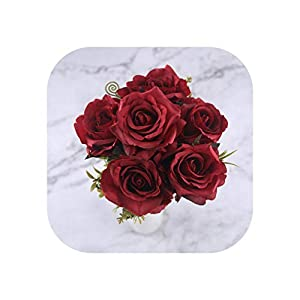 6 Heads White Rose Artificial Flowers Silk for Wedding Decoration Winter Fake Big Flowers Red for Home Decor Autumn,red Flowers