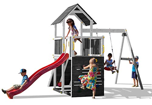 Fungoo Parque Infantil para jardín Carol 3 con Plataforma, rocódromo y Columpio