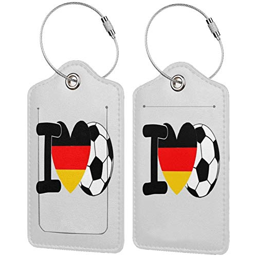I Love Soccer Luggage Tags Leather Travel Suitcases Id Identifier Baggage Label Card Holder.