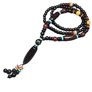 ZHIBO Halskette mit 9 Augen aus tibetischem Achat, Dzi Perlen