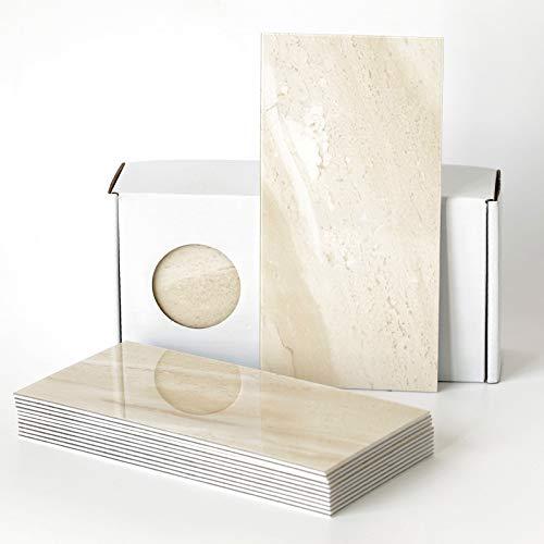 BeNice Peel and Stick Subway Tile Imitation Marbling, Kitchen Backsplash Self Adhesive, Wall Panel Waterproof for Bathroom, RV (23 Tiles) Beige