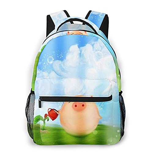 COVASA Mochila escolar de estilo informal,mochila de viaje,nubes de hierba de cerdo,regadera,pico,prado,mochila grande y liviana para estudiantes,niños y adultos,para computadora portátil de 15.6 '