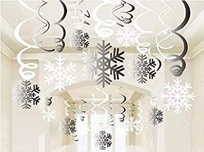 MAFENT Christmas Party Supplies White and Silver Snowflake Hanging Swirl Decorations Spiral Streamers for Home Shopping Mall Christmas Holiday Decoration XMAS Party Ceilinig Ornaments