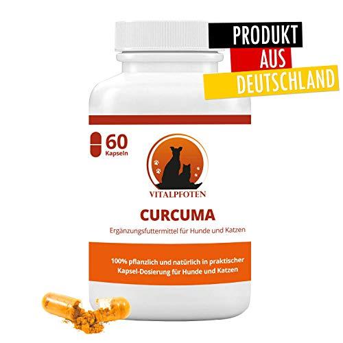 Vitalpfoten Curcuma Kapseln mit Curcumin und Piperin für Hunde und Katzen 60 Kapseln, Ergänzungsfuttermittel, sanfte wirkungsvolle Dosierung, Herstellung in Deutschland, höchste Reinheit und Qualität