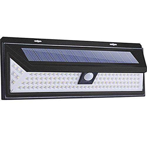 BFYLIN - Lámpara solar LED con detector de movimiento, IP65, impermeable, luz solar con 3 modos, iluminación solar para jardín, pared, carretera, caminos, etc, 118 LED