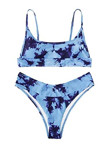 Verdusa Women's Tie Dye Swimsuit Bandeau Wireless Top High Leg Bikini Bathing Suit Multicolored XS