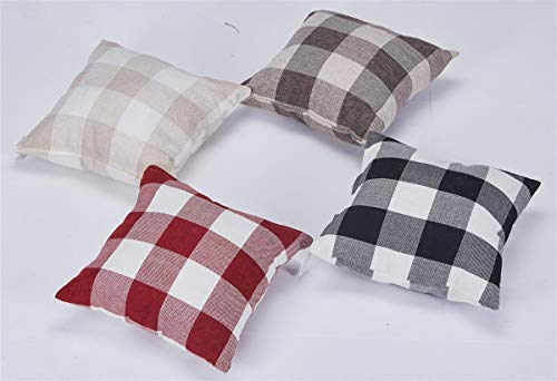 Euro tables 4 x 40 cm decorative cushion covers for pillows, beautiful cushion cover in checked design in 4, White/beige, 40 x 40 cm