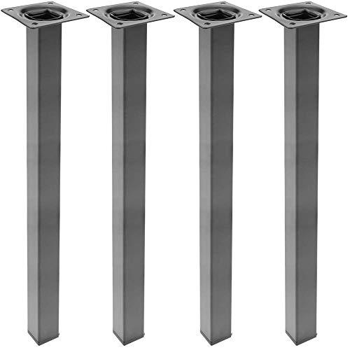 PrimeMatik - Quadrat Tischbeine für Schreibtische Schränke Möbel aus schwarz Stahl 75cm 4-Pack