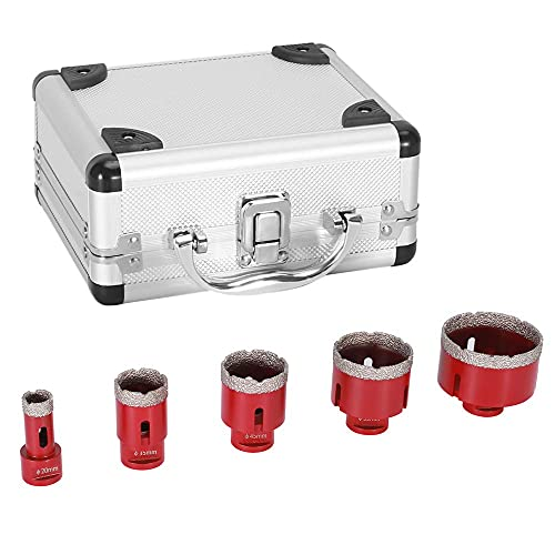 KKTECT Bit de núcleo de diamante M14 5PCS 20/35/45/55/72mm Juego de herramientas de brocas para sierra de agujero Juego de taladro de núcleo Cortador de agujeros para azulejos con caja de aluminio