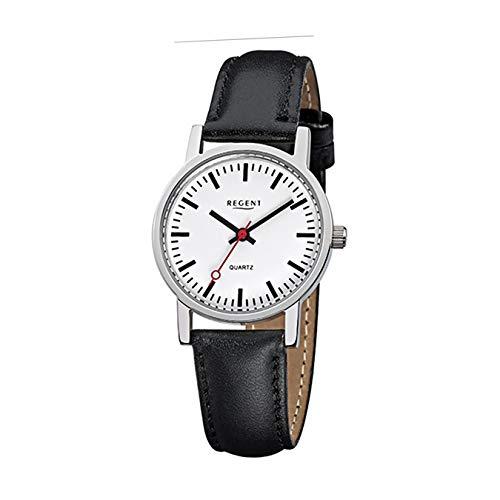 Regent Damen-Armbanduhr Elegant Analog Leder-Armband schwarz Quarz-Uhr Ziffernblatt weiß URF824
