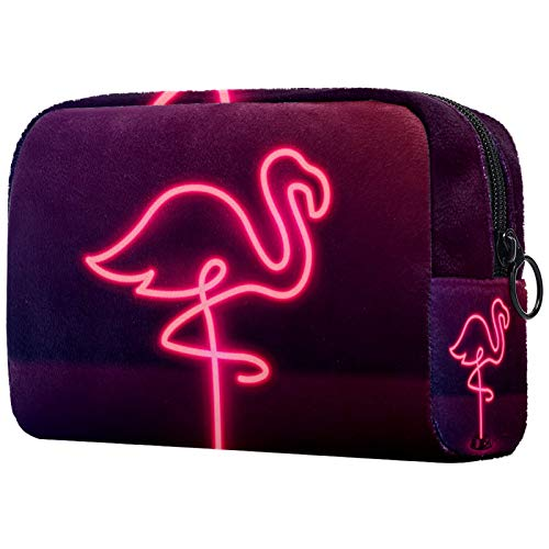 Bolsa de cosméticos Bolsa de Maquillaje para Mujer para Viajar Llevar cosméticos Cambiar Llaves, etc.,Letrero de neón con Flamenco Rosa