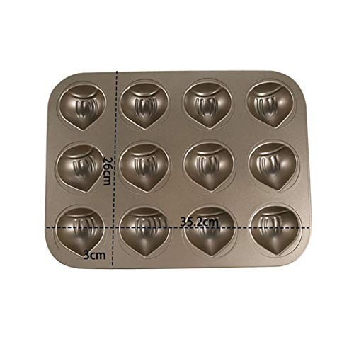 QIEZI Mini-Donut-Pfannen, Antihaft-6/12-Hohlraum-Donut-Backform, Kastanien-Form-Kuchen-Backform, Kohlenstoff-Stahl-Donut-Form - BPA-freie Keks-Kuchen-Backblech-Backform