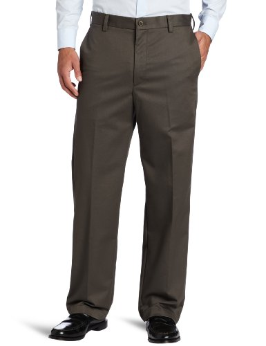 IZOD Men's American Chino Flat Front Straight Fit Pant, Olive, 40W x 32L