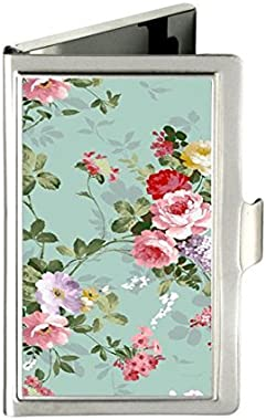 RUNDO Vintage Floral Flowers Custom Personalized Stainless Steel Business box Name Case Holder Identity Card Wallet (Silver)