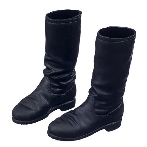 MagiDeal Noir 1/6 échelle Plates Longues Chaussures Bottes pour 12 Pouces Corps De Figure Féminine