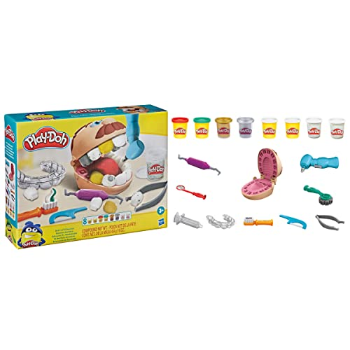 Play-Doh Drill 'n Fill Dentist Toy for Kids 3 Years and Up with Cavity and Metallic Colored Modeling Compound, 10 Tools, 8 Total Cans, 2 Ounces Each, Non-Toxic, Assorted Colors