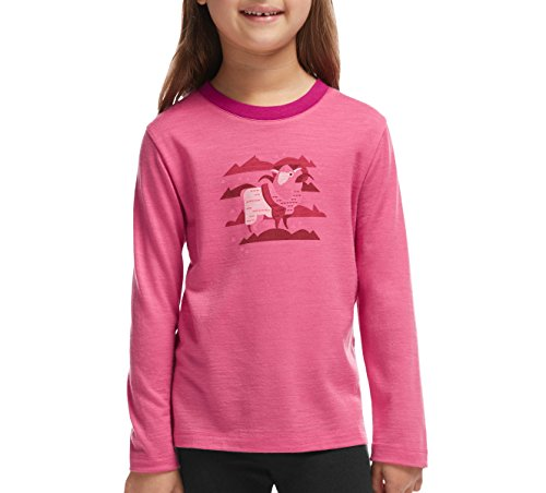 Icebreaker Tech t-Shirt à Manches Longues pour Enfant à Manches Longues et col Ras du Cou en Laine mérinos 8 Ans Rose - Shocking/Raspberry