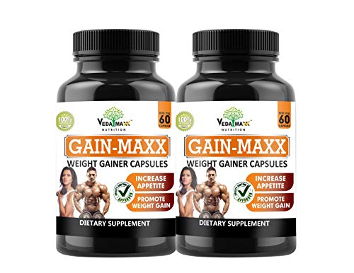 VEDA MAXX GAIN MAXX Weight Gainer Capsules Supplement for Increase Appetite & Promote Weight Gain 100% Natural Vegetarian Tablet (Pack of 02)