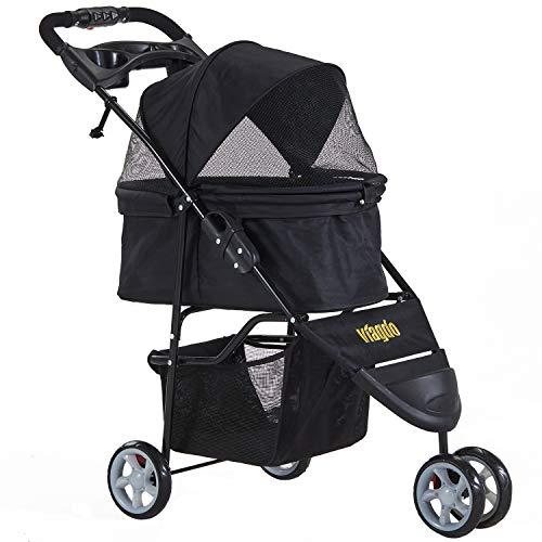 VIAGDO Pet Strollers for Small Medium Dogs & Cats, 3-Wheel Cat Stroller,...