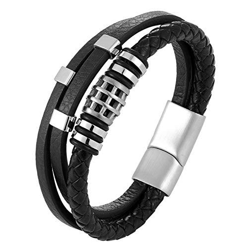 WANGJINQIAO Pulsera de acero inoxidable multicapa para hombre, hebilla magnética, puños multicapa, pulseras de moda (color: C, tamaño: 23 cm)