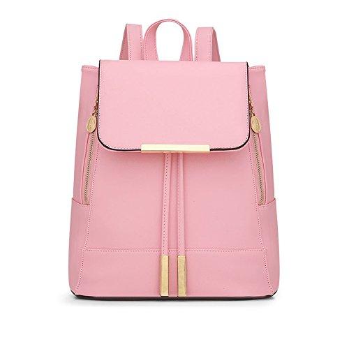 LaoZan Damen Rucksack Umhängetasche Schulrucksäcke Pu Leder Reise Daypacks Tasche Schulranzen Hell Pink