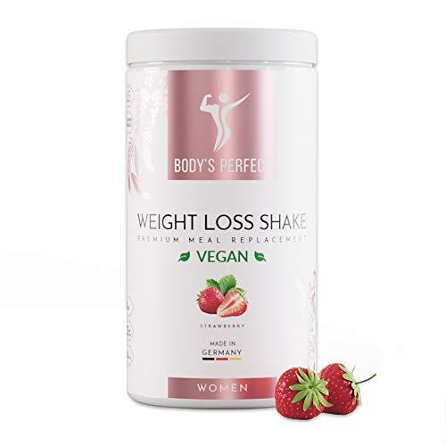 BODY\'S PERFECT® Weight Loss Shake Vegan für Frauen, Diät Shake zur Gewichtskontrolle mit hochwertigem Protein, Mahlzeitersatz mit allen wichtigen Vitaminen und Mineralstoffen, 500g (Erdbeere)