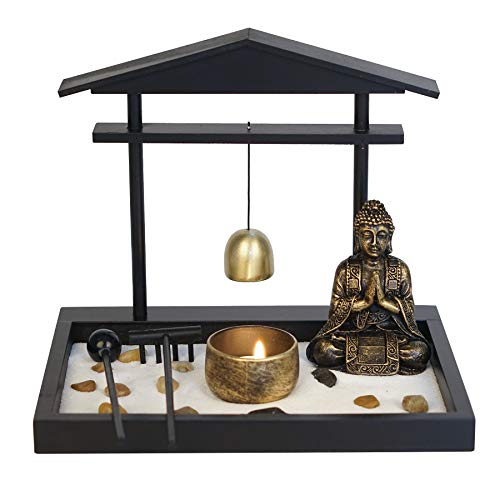 Zen Garden Kit with Buddha Statue Tealight Candle Holder, Incense Holder, Rocks, Sand, Bell, Rake and Wooden Tray - for Home Decor, Gift, Meditation and Relaxing