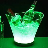 アイスペール 溶けない 6リットルLEDアイスバケット大容量ワインクーラーLed防水レトロシャンパンワインドリンクビールバケツ、4 AAA電池による電力、パーティーホームバー シャンパンクーラー (Color : Green)