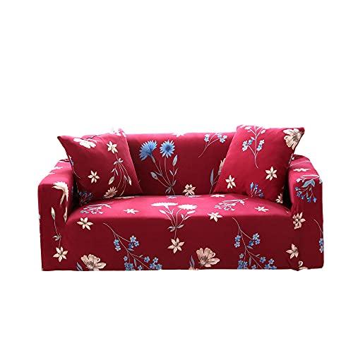 Tuotai Funda de sofá elástica para sofá de 1/2/3/4 plazas, protector de muebles, sillón o decoración de sala de estar (rojo, 4 plazas)
